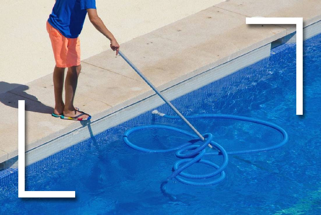 cleaning pool blue shirt